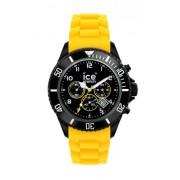Ice Watch - CH.BY.B.S.10 - Ice Chrono - Montre Homme - Quartz Analogique - Cadran Noir - Bracelet Silicone Jaune - Grand Modèl